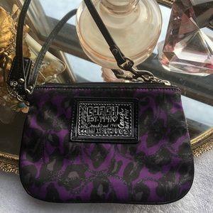 Coach Purple Ocelot Animal Leopard Print Wristlet